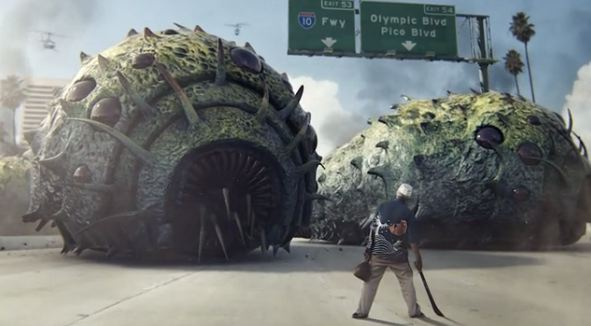 Giant sea creatures take on Los Angeles in this amusing
