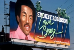 Smokey Robinson billboard on the Sunset Strip circa 1978
